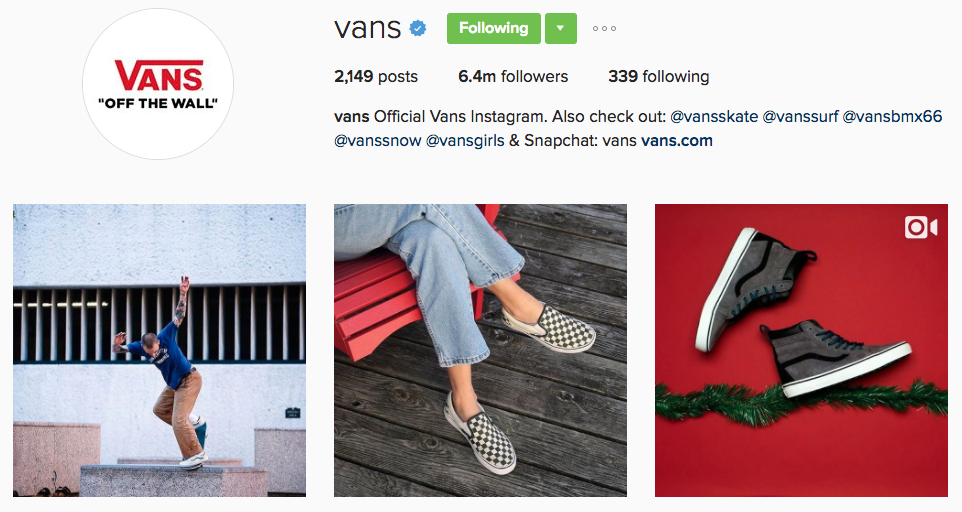 Millions of followers Instagram brand